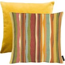APELT Easy Living Kissen Vorderseite: multi/orange - Rückseite: Uni gelb 45x45 cm