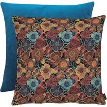 APELT Easy Living Kissenhülle Vorderseite: Blumen multi/blau - Rückseite: Uni dunkelblau 66x66 cm