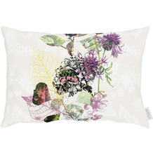APELT Herbstzeit Kissen modern gestaltetes Blütenallover natur / lila / aubergine 35x50 cm