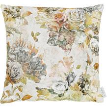 APELT Herbstzeit Kissen Rosen- und Herbstblumen-Motiv orange / gelb / grün / natur / grau 39x39 cm
