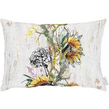 APELT Herbstzeit Kissen Sonnenblumen und Hortensen natur / gelb / orange / grün / grau 35x50 cm