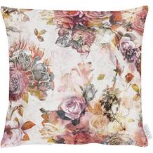 APELT Herbstzeit Kissenhülle Rosen- und Herbstblumen-Motiv rot / rose / natur / grau 40x40 cm