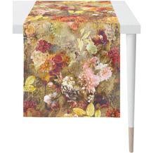 APELT Herbstzeit Läufer gemalte Auqarell-Blütenalover orange / terra / grün / multi 48x140 cm