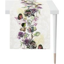 APELT Herbstzeit Läufer modern gestaltetes Blütenallover natur / lila / aubergine 46x140 cm