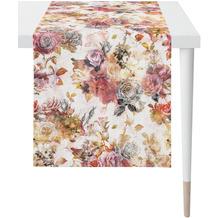 APELT Herbstzeit Läufer Rosen- und Herbstblumen-Motiv rot / rose / natur / grau 48x140 cm