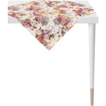 APELT Herbstzeit Mitteldecke Rosen- und Herbstblumen-Motiv rot / rose / natur / grau 85x85 cm