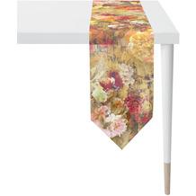 APELT Herbstzeit Tischband gemalte Auqarell-Blütenalover orange / terra / grün / multi 25x175 cm