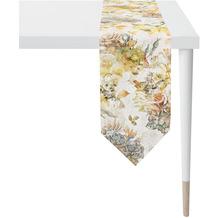 APELT Herbstzeit Tischband Rosen- und Herbstblumen-Motiv orange / gelb / grün / natur / grau 25x175 cm