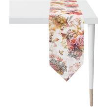 APELT Herbstzeit Tischband Rosen- und Herbstblumen-Motiv rot / rose / natur / grau 25x175 cm