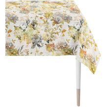 APELT Herbstzeit Tischdecke Rosen- und Herbstblumen-Motiv orange / gelb / grün / natur / grau 100x100 cm