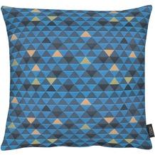 APELT Loft Style Kissen blau 48x48, Dreiecksmuster