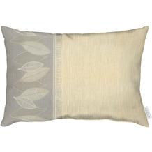 APELT Loft Style Kissen Bordüre mit grafischem Blattmotiv stein / beige / natur 35x50 cm