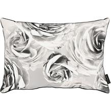 APELT Loft Style Kissen schwarz/weiß, Rosen 40x60 cm