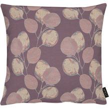APELT Loft Style Kissenhülle kunstvoll ausgearbeitete Blätter aubergine / lila 46x46 cm