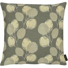 APELT Loft Style Kissenhülle kunstvoll ausgearbeitete Blätter grau / natur / silberfarben 46x46 cm