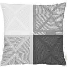 APELT Loft Style Kissenhülle schwarz/weiß 49x49, Viertelmuster