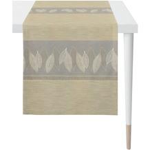 APELT Loft Style Läufer Bordüre mit grafischem Blattmotiv stein / beige / natur 44x140 cm