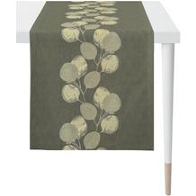 APELT Loft Style Läufer kunstvoll ausgearbeitete Blätter grau / natur / silberfarben 48x140 cm