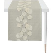 APELT Loft Style Läufer kunstvoll ausgearbeitete Blätter stein / beige / natur 48x140 cm