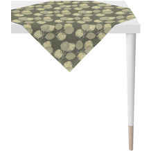 APELT Loft Style Tischdecke kunstvoll ausgearbeitete Blätter grau / natur / silberfarben 90x90 cm