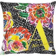 APELT Outdoor Kissenhülle bunt / multi 46x46 cm, Blumen Comicstil