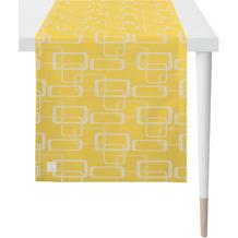 APELT Outdoor Läufer gelb/stein 46x135 cm, Vierecksmuster