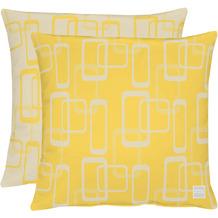 APELT Outdoor Wendekissen gelb/stein 45x45 cm, Vierecksmuster