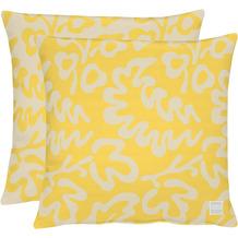 APELT Outdoor Wendekissenhülle gelb/stein 46x46 cm, Pflanzemuster