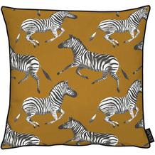 APELT UNIQUE Kissen kunstvoll gestaltete Zebras braun / schwarz / weiß 45x45 cm