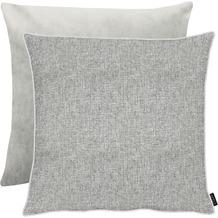APELT Unique Kissen Vorderseite: grau/silber - Rückseite: Uni grau 65x65 cm