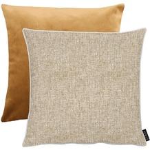 APELT Unique Kissen Vorserseite: nartur/beige - Rückseite: Uni helles braun 45x45 cm
