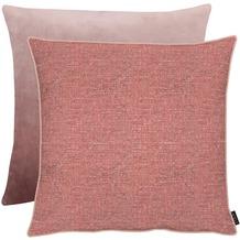 APELT Unique Kissenhülle Vorderseite: rosa - Rückseite: Uni zartes rose 66x66 cm