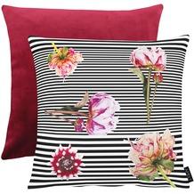 APELT Unique Kissenhülle Vorderseite: schwarz/weiß/pink / Rückseite: bordeaux Samt Uni 46x46 cm