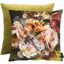 APELT UNIQUE Wendekissen großzügiges Blütenmotiv multi / grün 45x45 cm