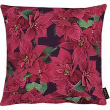 APELT Winterwelt Kissen Christmas-all-over mit großblumigen Weihnachtssternen rot 39x39 cm