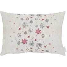 APELT Winterwelt Kissen Sternenmotiv im angesagten Skandi-Style natur / rot / grün 35x50 cm