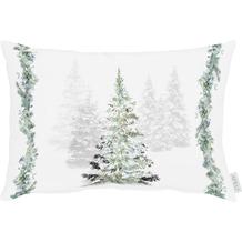 APELT Winterwelt Kissen Winterwald mit Tannen weiß / grün 35x45 cm