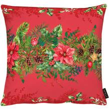 APELT Winterwelt Kissenhülle Weihnachtsgirlandenmotiv rot / grün 49x49 cm