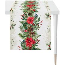 APELT Winterwelt Läufer Weihnachtsgirlandenmotiv natur / rot / grün 46x140 cm