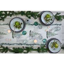 APELT Winterwelt Läufer Winterwald mit Tannen weiß / grün 46x135 cm