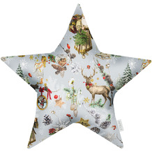 APELT Winterwelt Sternkissen Christmas-all-over rot / multi 44x44 cm
