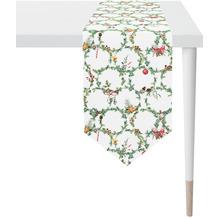 APELT Winterwelt Tischband Christmas-all-over weiß / grün 32x175 cm