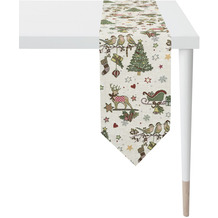 APELT Winterwelt Tischband Weihnachtsmotiv im angesagten Skandi-Style natur / rot / grün 21x175 cm