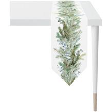 APELT Winterwelt Tischband Winterwald mit Tannen weiß / grün 25x175 cm