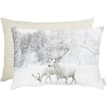 APELT Winterwelt Wendekissen Weiße Hirsche weiß / natur 35x45 cm
