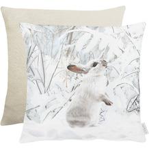 APELT Winterwelt Wendekissenhülle Schneehase weiß / natur 46x46 cm