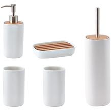 Aquanova Badaccessoire Set OSCAR, weiss (bestehend aus WC-Garnitur, Seifenspender, Kosmetikschale, 2x Becher)