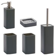 Aquanova Badaccessoires Set Ona dunkelgrau (bestehend aus WC-Garnitur, Seifenspender, Kosmetikschale und 2x Zahnputzbecher)