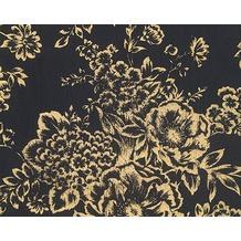 Architects Paper klassische Mustertapete Metallic Silk Textiltapete schwarz metallic 306577 10,05 m x 0,53 m