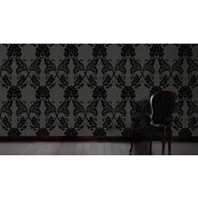 Architects Paper klassische Mustertapete mit Echtflock Luxury wallpaper Vliestapete schwarz grau 10,05 m x 0,52 m
